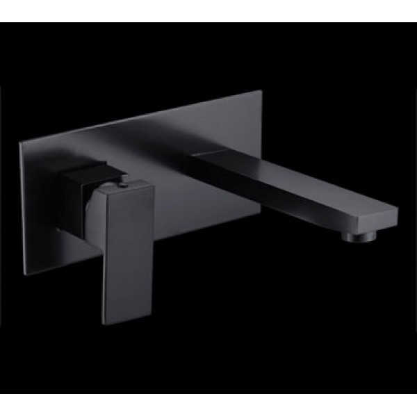 Square bath outlet + wall mixer on plate black