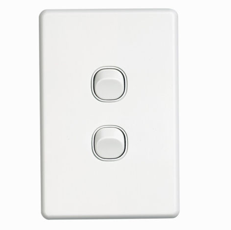 Clipsal SW2 2 gang switch vertical white