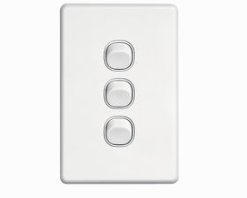 Clipsal SW3 3 gang switch vertical white