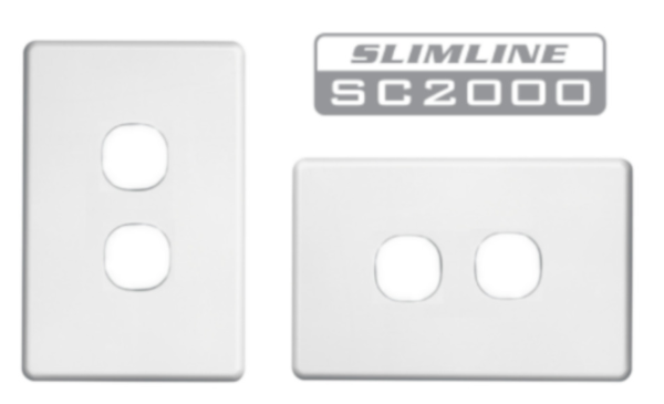 Clipsal Slimline SC2000 2 gang cover white