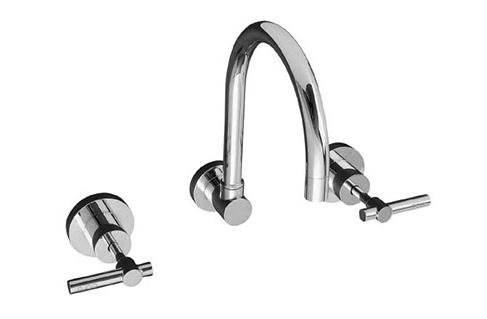 Sabine L-Handle wall sink set chrome