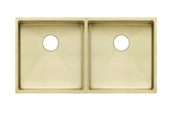 Double bowl square gold sink
